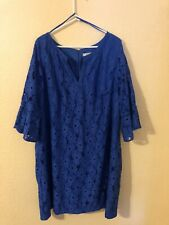 Jessica Howard Dress Woman's Plus 22W 3x Blue Gothic Bell Sleeve Lace