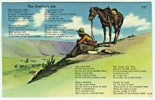 Cowboy's Life Poem Linen Postcard