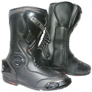 MTECH Motorcycle Sports Boost A Grade Leather Motorbike Water Proof Racing Boots