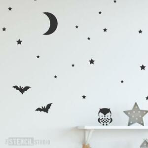Owl, Moon & Stars Stencil Set - Nursery Wall Decoration Stencils for Home Decor