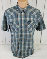 HOLLISTER CO Western Styling Mens Plaid SS Pearl Snap Cowboy Shirt Size L Large
