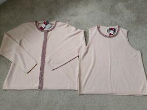 BNWT Ladies Vintage St Micheal Twin Set 2 piece Cardigan Top pink Size 20 Petite