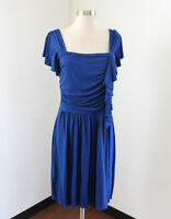 Boston Proper Green Dragon Solid Blue Ruched Ruffle Dress Size M Womens