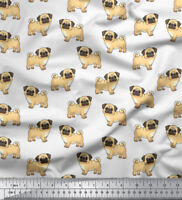 Soimoi Sewing Poly Satin Fabric Pug Dog 105 GSM 44 Inches Wide Material By 1 Mtr