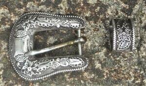 Vintage Holland's Model # 201 Sterling Silver Ranger Belt Buckle Set