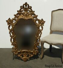 Vintage French Provincial Rococo Gold Scrolls Flourishes Wall Mirror by Turner