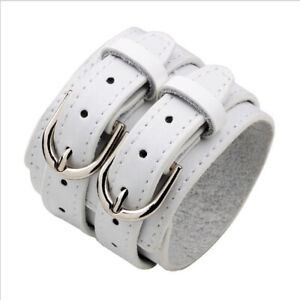 Punk Mens Wide Leather Bracelet Bangle Adjustable Wristband Cuff Wrap Jewelry