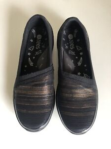 BZEES NATURALIZER Ultra Light Black Gold Slip On Comfort Shoe EU 36 AU 6