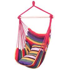 Unique cotton canvas rainbow-color practical durable pillow hanging rope chair