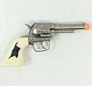 70s Hubley Texan Jr. Toy Cap Gun Steer Head Grips Made USA Roll Caps Orange Tip