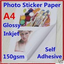 10X A4 150GSM Glossy Photo Paper Sticker Self Adhesive Inkjet Print Sheet Office