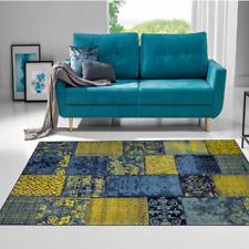 Moderner Stylischer Teppich Patchworkmuster Blau Limette Robust versch. Größen