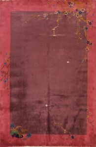 Antique Art Deco Chinese Oriental Area Rug Vegetable Dye Hand-Knotted Wool 9x11