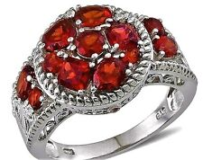natural Garnet Cluster Ring Mozambique Red 4.00 cts Size 5