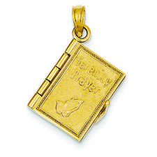 14K Yellow Gold Moveable Pages Serenity Prayer Book Charm Pendant MSRP $710