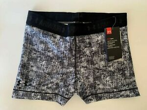 NEW UNDER ARMOUR [M] Womens SHORTY COMPRESSION Shorts-Black/White 1302777