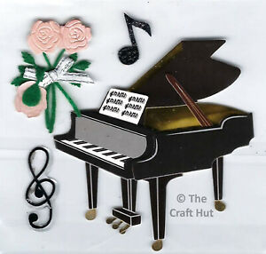 Trimits Craft Card Making Novelty Stickers Piano Music Notes Flowers C2132 New