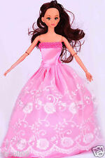 Children's toys Princess Party Dress/Evening Clothes/Gown For Barbie Doll  w1035