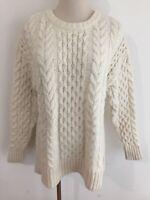J.Jill Crewneck Cable Knit Tunic Sweater Ivory Lambswool/Nylon Size S
