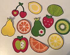 Colorful Summer Lemons, Berries, Cherries  - Iron On Fabric Appliques