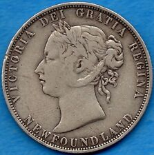 Canada Newfoundland 1874 50 Cents Fifty Cents Silver Coin - VG/F