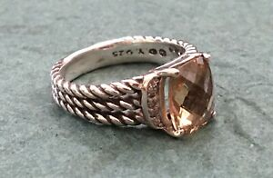 SPECTACULAR D YURMAN Premium STERLING SILVER Smoky TOPAZ & DIAMONDS Sz. 7.5 RING