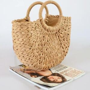 Women Retro Wicker Handbag Totes Beach Straw Woven Summer Bag Basket Rattan E1A7