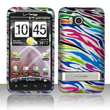 For HTC Thunderbolt 4G  Hard Rubberized Case Phone Cover Silver Rainbow Zebra