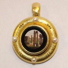 ELIZABETH LOCKE Micro Mosaic Ruins Pin/Pendant with Cultured Pearls in 18KYG