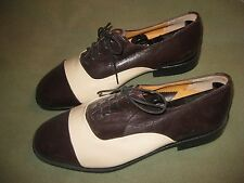 ~Exquisite New SADDLE OXFORDS Two Tone Brown Cream ALL LEATHER 8 1/2 Med.~