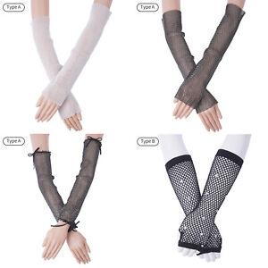 1 Pair Unisex Glitter Fishnet Elbow Length Arm Sleeve Stretch Fingerless Gloves