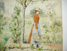 Dessin original aqurelle c1900 scène de campagne jeune femme au panier 57 cm