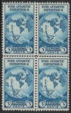 Scott 753- NGAI, Horizontal Line Block of 4- 3c Byrd Antarctic, Farley 1935- MH