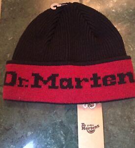 Unisex Dr. Martens DNA Woollen Beanie Black+Cherry, Made In Scotland RRP £29