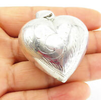 925 Sterling Silver - Vintage Floral Vine Etched Puffy Love Heart Pendant- P8356