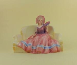 Antique German Porcelain Art Deco figurine of Girl on Sofa by Hertwig Katzhutte