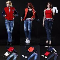 New 1/6 Scale Woman Baseball Clothes Jeans Sports Shoes Set For 12'' Figure Body