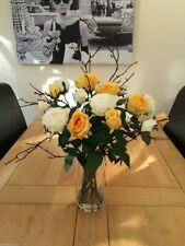 STUNNING ARTIFICIAL FLOWER VASE ARRANGEMENT YELLOW /IVORY ROSES & TWIGS IN WATER