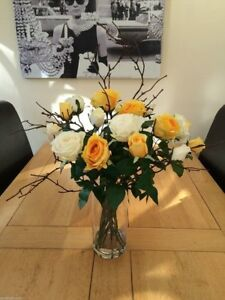 ARTIFICIAL FLOWERS ARRANGEMENT YELLOW IVORY ROSES & TWIGS IN VASE WITH WATER