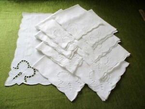 NAPKINS with HAND EMBROIDERY DECORATION ~ Set of 10~ WHITE COTTON