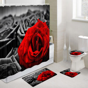 Red and Black Roses Shower Curtain Toilet Cover Rug Mat Contour Rug