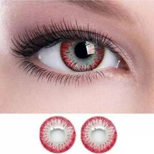 1 Pair red color eye makeup With Case Zero Power Monthly Contact Lens
