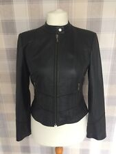 Ladies NEXT Biker Style REAL LEATHER Jacket Fitted Black Soft Size 12 10