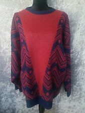 EXCEPTION Vintage Jumper- Chunky Knit Geometric Zigzag Boho- Maroon/Navy- 22-24