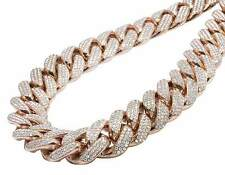 Solid 14k Rose Gold Heavy Miami Cuban Link 1 Kilo Diamond Chain Necklace 60.0 Ct