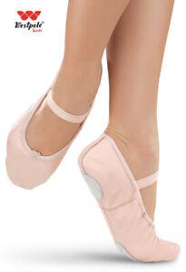 WESTPOLE Pink Leather Ballet Dance Shoes split suede sole Children & Adult size
