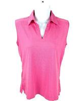 Lady Hagen Women Small Golf Polo Shirt Sleeveless Stripe Texture Stretch Pink -Z