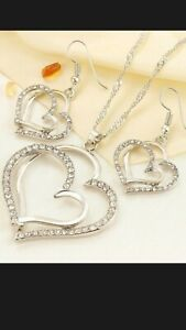 SILVER DOUBLE HEART DIAMOND NECKLACE EARRINGS SET STATEMENT MOTHER'S DAY GIFT