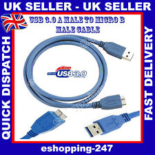 New 3M USB 3.0 Lead A Male to B Micro Sync Data Power Hard Disk Drive Blue Cable