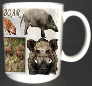 WILD BOAR COFFEE MUG LIMITED EDITION GIFT NEW 2014 DESIGN, PIG, HOG, HUNTING